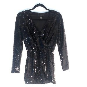 Long Sleeve Sequined Romper